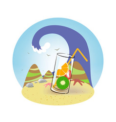 a glass of fruit in the sand vector image