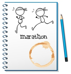 A notebook with two runners in the cover page vector image