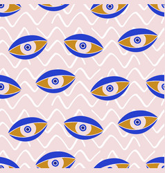 aztec evil eyes seamless pattern in blue color vector image