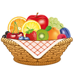 Basket fresh fruit apple lemon apricot berries vector