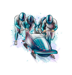 bobsleigh for four athletes from splash of vector image