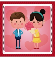 Boy and girl bouquet flowers pink hearts vector