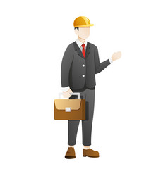 businessman wear construction helmet and carry vector image