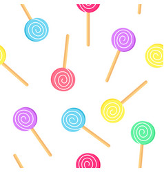 Candy colorful seamless pattern lollipop vector
