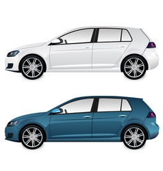 Car blue and white vector
