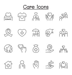 care icons set in thin line style vector image