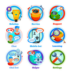 Chat bot flat icons vector