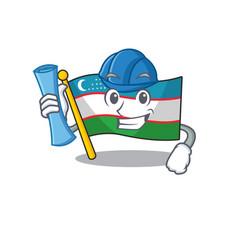 Cheerful architect flag uzbekistan scroll with vector