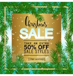 Christmas sale on a gold background Green fir vector image