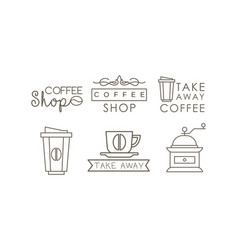 coffee line icons set takeaway coffee cup vector image