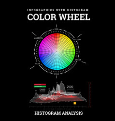 Color wheel with histogram infographics vector