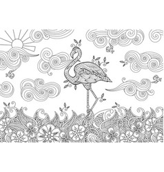 Coloring page with doodle style flamingo in the vector