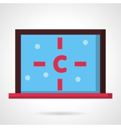 Computer with carbon atom flat design icon vector