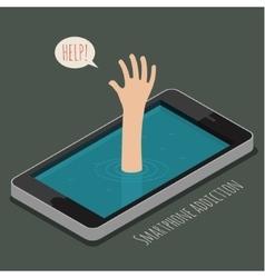 Concept of smartphone addiction vector
