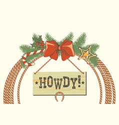 cowboy western christmas wreath with lasso and vector image