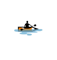 creative pen boat character symbol river logo vector image