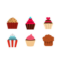cupcake icon set flat style vector image