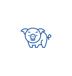 cute pig line icon concept cute pig flat vector image