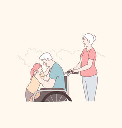 Disabled person family care concept vector