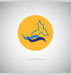 dolphin whale fin and water splash icon vector image