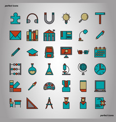education and learning color line icons perfect vector image