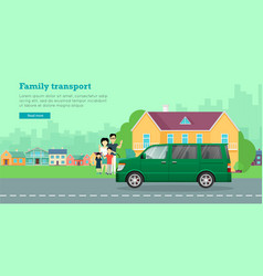 Family transport flat web banner vector