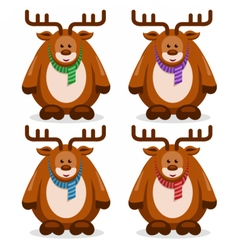flat collection deers vector image