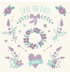 Floral Design Wedding Engagement Elements vector
