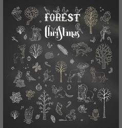 forest christmas set on blackboard background vector image
