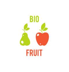 Fruit apple and pear vegetarian food symbol vector
