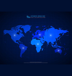 futuristic blue world map background vector image