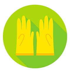 Garden Gloves Circle Icon vector image