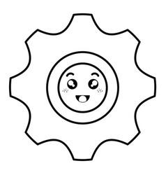 Gear machine kawaii character vector