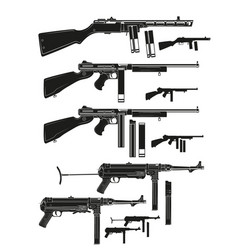 graphic silhouette old retro submachine guns vector image