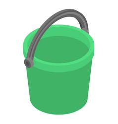 green bucket icon isometric style vector image