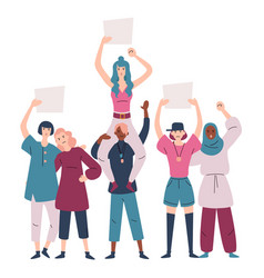 group women in protest group female vector image
