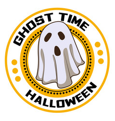 halloween ghost time logo cartoon style vector image