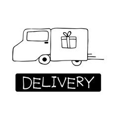 Hand drawn cargo truck doodle delivery concept vector