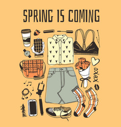 Hand drawn fashion wear and text actual season on vector
