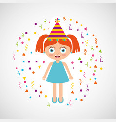 happy birthday celebration card with kid vector image