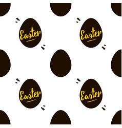 happy easter black and gold seamless pattern vector image