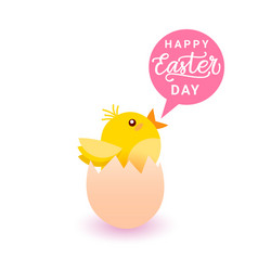 happy easter greeting card with yellow chicken in vector image
