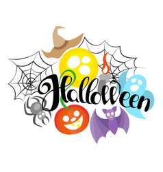 happy halloween hand drawn lettering text banner vector image