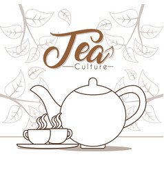 hot tea cups with kettle vector image