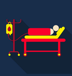 Human lying in bed at hospital ward patient with vector