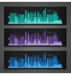 Industrial city skyline sets vector