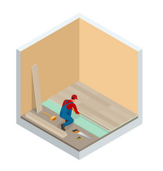 isometric man installing new laminated wooden vector image