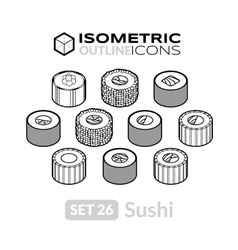 Isometric outline icons set 26 vector image