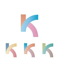 K logo letter mockup pastel colors design element vector