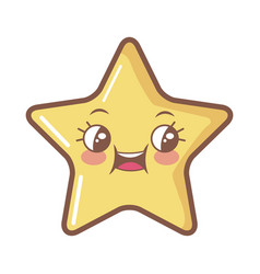 Kawaii star funny cartoon character icon vector